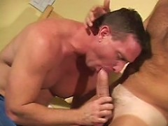 Big bodied unshaved gay bear gets dick sucking satisfaction