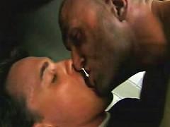 Horny gay bears kissing and heavily pumping