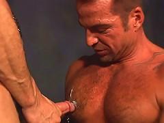 Nasty slave blows his buff master