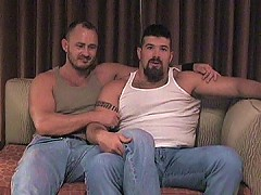 Two burly bears swallow meaty cocks