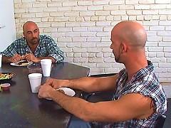 Bald bear sucks on a thick hairy cock