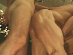 Unshaved gay hunks with sexy bodies in doggie style ass pumping