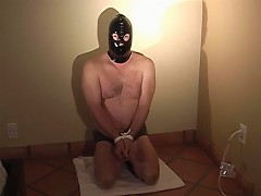 Bear slave sucks dick and gets spanked